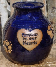 forever in our hearts pet urn in merlin font